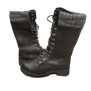NEW MIA Jenson Black Combat Lace Up Side Zip Boots
